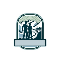 Father son journey mountains crest retro vector