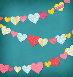 Garland of colored hearts vector image vector image
