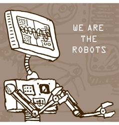 hand draw robot on retro background Eps10 vector image vector image