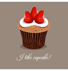 I like strawberry cupcake vector