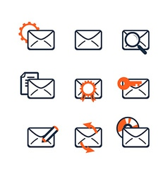 Icon set web development and seo e-mail marketing vector