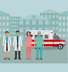 medical team group of doctors and nurses standing vector image vector image