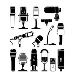monochrome of microphones and vector image