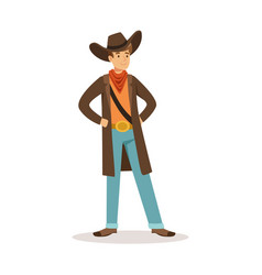 North american cowboy western cartoon character vector