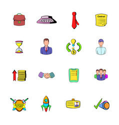 office and business icons set cartoon vector image vector image