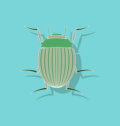 Paper sticker on background of colorado beetle vector