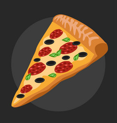 Salami pizza slice vector
