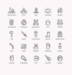 Set of icons and symbols for camping and hiking vector