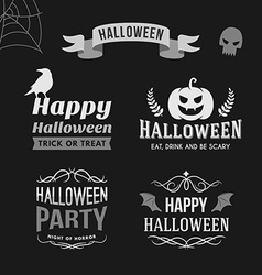 Set of Retro Vintage Halloween Badges Black and vector image