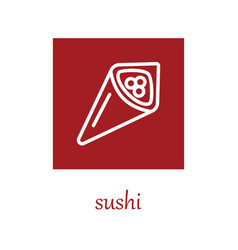 Temaki sushi icon on red square vector