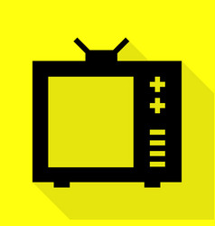 Tv sign black icon with flat style vector