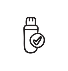Usb flash drive sketch icon vector