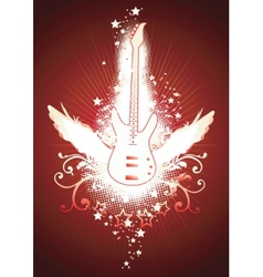 Winged guitar vector