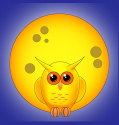 yellow owl against the full moon at night vector image