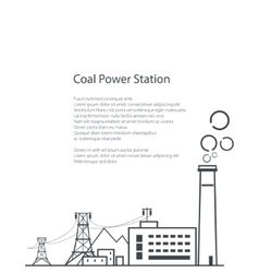 Coal power station poster brochure vector