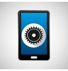social media mobile process gear vector image