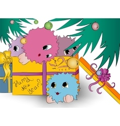 Four cute colorful monsters gift box christmas vector