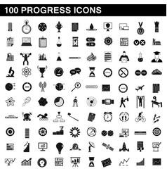 100 progress icons set simple style vector image