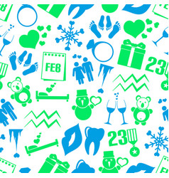 February month theme set of simple icons seamless vector