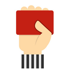 hand of soccer referee showing red card icon vector image