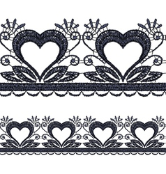 Seamless openwork lace border with hearts realisti vector
