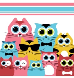 Funny cats family vector