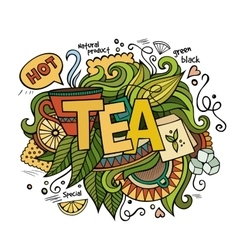 Tea hand lettering and doodles elements background vector