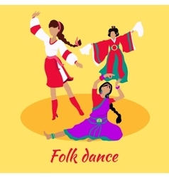 Folk dance concept flat design vector