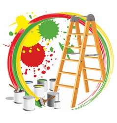 Paints and a step-ladder vector