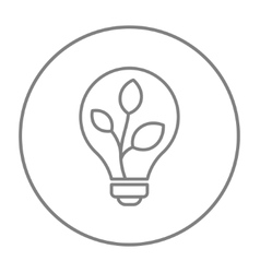 Lightbulb and plant inside line icon vector
