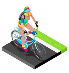 Road cycling cyclist working out isometric 3d vector