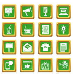 Advertisement icons set green vector