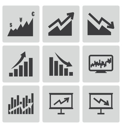 black economic icons set vector image vector image