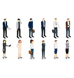 Business people set isometric view vector