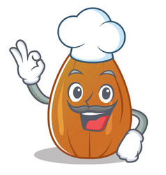 Chef almond nut character cartoon vector