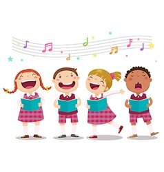 Choir girls and boys singing a song vector image