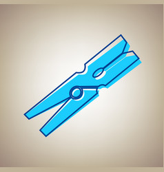 Clothes peg sign sky blue icon with vector