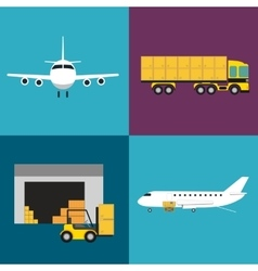 Commercial air shipping service icons set vector