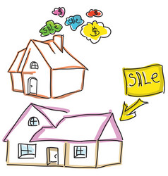 drawn colored houses for sale vector image vector image