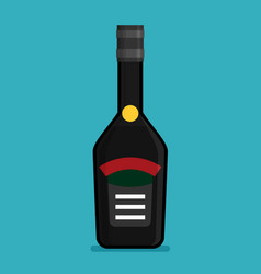 flat bottle with alcohol icon vector image vector image