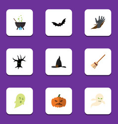 flat icon halloween set of witch cap magic vector image vector image