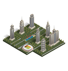 flat isometric map landscape city building vector image vector image