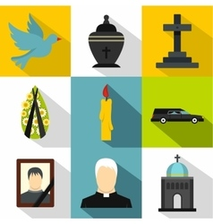 Funeral services icons set flat style vector