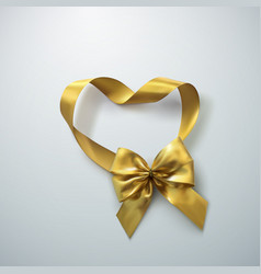 Golden bow and ribbons vector