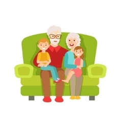 Grandparents And Grandchildren Sitting On The Sofa vector image vector image