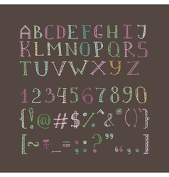 hand drawn doodle font in sketch style vector image
