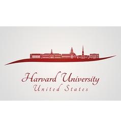 Harvard university skyline in red vector