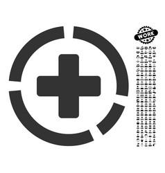 Health care diagram icon with work bonus vector
