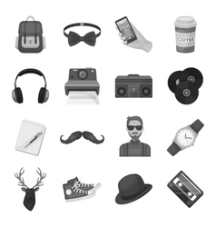 Hipster style set icons in monochrome style big vector