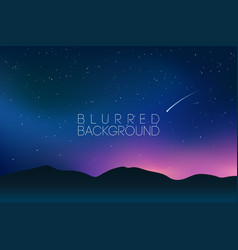 Horizontal wide blurred mountain night stars sky vector